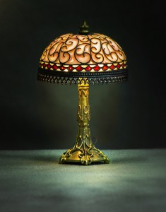 "Table lamp 2 3/8"" high x 1 1/2"" diameter. Base by Jim Pounder. From the KSB Miniatures Collection."